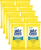 Wet Ones Antibacterial Hands & Face Wipes, Citrus Scent, 20 Count Travel Pack (Pack of 10) 200 Wipes Total