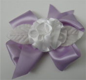 Purple / White Ribbon Fluff Rose Corsage