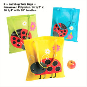3 ~ Ladybug Tote Bags / Gift Bags ~ Nonwoven polyester ~ 37cm x 41cm ~ New