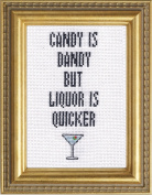 "Subversive Cross Stitch ""Candy Is Dandy But Liquor Is Quicker"" Deluxe Kit"