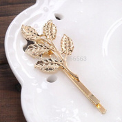 Ascentan(TM)Women's Golden Metal Punk Hairpin European And American Retro Leaves Little Hair Clips Women's Hair Accessories