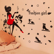 Fashion Girl Bags Flowers Butterflies Wall Decal Home Sticker PVC Murals Vinyl Paper House Decoration Wallpaper Living Room Bedroom Kitchen Art Picture DIY for Children Teen Senior Adult Nursery Baby