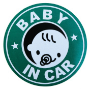 BABY IN CAR baby riding in the magnet outside the paste stickers diameter 12cm Green