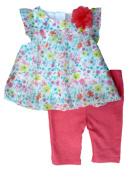 Little Wonders Infant Girls Floral Chiffon Shirt & Leggings 2 Piece Set Newborn