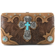 Justin West Western Tooled Turquoise Cross Concho Clutch Flat Wallet