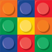 Club Pack of 192 Colourful Building Block Themed 2-Ply Beverage Party Napkins 13cm