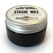 Wild Willie's Moustache Wax - The Only Hard Wax with 7 Natural Organic Ingredients for All Day Hold While Treating Your Moustache at the Same Time. Every Batch Made By Hand Weekly in the USA. From Our Family To Yours. 30ml