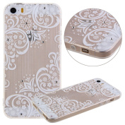 iPhone SE Case,iPhone 5/5S Case, UZZO White Mandala Flower Butterfly Print Bling Crystal Diamond Inslaid Clear Soft TPU Gel Rubber Silicone Skin Case Cover for iPhone SE 2016 & iPhone 5/5S