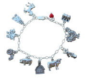 Farm Charm Bracelet - Pewter Barnyard Animal Charms on a Sterling Silver Chain- Cow, Pig, Rooster, Sheep, Barn, Tractor, Overall Charms- Made in USA - Sizes XS S M L XL