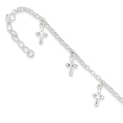 .925 Sterling Silver 3.00MM Cross Charm Anklet Bracelet, 9 Inches