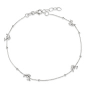 ".925 Sterling Silver 2.00MM Polished Dolphin Anklet Bracelet With 1"" Extender, 9 Inches"