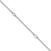 ".925 Sterling Silver 4.50MM Fancy CZ's Anklet Bracelet With 1"" Extender, 9 Inches"