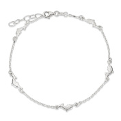".925 Sterling Silver 3.50MM Polished Dolphin Anklet Bracelet With 1"" Extender, 9 Inches"