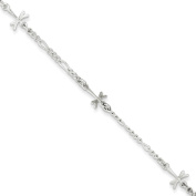 ".925 Sterling Silver 2.00MM Polished Dragonfly Anklet Bracelet With 1"" Extender, 9 Inches"