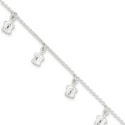 ".925 Sterling Silver 2.00MM Polished Turtle Anklet Bracelet With 1"" Extender, 9 Inches"