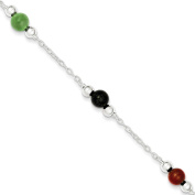 .925 Sterling Silver 6.00MM Multi-Colour Anklet Bracelet, 9 Inches