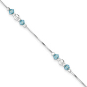 ".925 Sterling Silver 1.50MM Polished Bead and CZ Anklet Bracelet With 1"" Extender, 9 Inches"