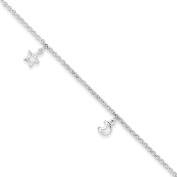 ".925 Sterling Silver 2.00MM Moon and Stars Anklet Bracelet With 1"" Extender, 9 Inches"