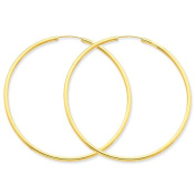 14K Yellow Gold 55mm x 2mm Round Endless Hoop Earrings
