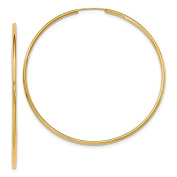 14K Yellow Gold 72mm x 2mm Round Endless Hoop Earrings