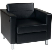 Avenue Six Pacific Arm Chair, Black, Faux Leather/Vinyl Fabric Contemporary Styling