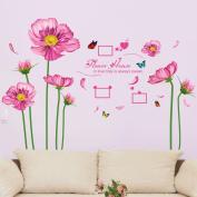 Pink Flowers Butterflies Heart Shapes Photo Frames Wall Decal Home Sticker PVC Murals Vinyl Paper House Decoration Wallpaper Living Room Bedroom Kitchen Art Picture DIY for Children Teen Senior Adult Nursery Baby