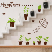 Happiness Birds Plants Pots Green Leaves Wall Decal Home Sticker PVC Murals Vinyl Paper House Decoration Wallpaper Living Room Bedroom Kitchen Art Picture DIY for Children Teen Senior Adult Nursery Baby