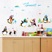 Happy Penguins Heart Shapes Tree Wall Decal Home Sticker PVC Murals Vinyl Paper House Decoration Wallpaper Living Room Bedroom Kitchen Art Picture DIY for Children Teen Senior Adult Nursery Baby
