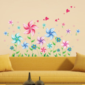 Windmill Flowers Heart Shapes Wall Decal Home Sticker PVC Murals Vinyl Paper House Decoration Wallpaper Living Room Bedroom Kitchen Art Picture DIY for Children Teen Senior Adult Nursery Baby