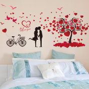 Romantic Lovers Heart Shapes English Letters Birds Tree Wall Decal Home Sticker PVC Murals Vinyl Paper House Decoration Wallpaper Living Room Bedroom Kitchen Art Picture DIY for Children Teen Senior Adult Nursery Baby