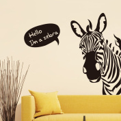 Zebra English Letters Wall Decal Home Sticker PVC Murals Vinyl Paper House Decoration Wallpaper Living Room Bedroom Kitchen Art Picture DIY for Children Teen Senior Adult Nursery Baby