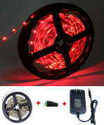 KPBOTL 5M 300led Non-Waterproof Led Strip 3528 Red +12VDC/2A Power Supply, Led Controller Indoor Decoration Lighting