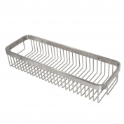 WEBI 40cm Solid Stainless Steel 304 Rectangular Storage Shelf, Heavy Duty Wall Mounted Wire Basket Hanging Organiser, for Bathroom, Kitchen, Bedroom, Garage, Storage Room, Brushed Finish