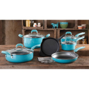 Vintage Speckle 10-Piece Non-Stick Pre-Seasoned Cookware Set, Turquoise