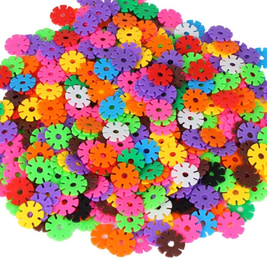 Himine Childen 200 Pcs Colourful Snow Flakes Stacking Block 3D Puzzles