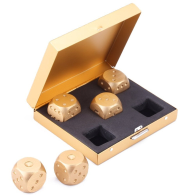 Agile-Shop 5 in 1 Precision Aluminium Alloy Solid Metal Dices Poker Party Game Toy Portable Dice Man Boyfriend Gift - Golden