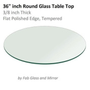 Glass Table Top Round 1cm Thick Flat Polish Tempered, 90cm L x 90cm W