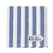 Harman Cotton Napkins Set of 4 18x18 Stripe w Beach Life is Best