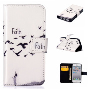 UNEXTATI iPhone 5 / iPhone 5s Case, Premium Wallet Case with Black Cover, Card Slot, Kickstand Function, Magnetic Closure, Impact Resistant, Apple iPhone5 / iPhone5s
