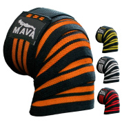 Mava Sports Knee Wraps (Pair) with Velcro for Cross Training WODs,Gym Workout,Weightlifting,Fitness & Powerlifting - Best Knee Straps for Squats - For Men & Women- 180cm -Compression & Elastic Support