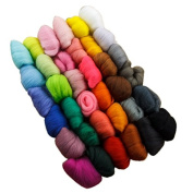 Generic Wool Fibre Roving for Needle Felting Hand Spinning DIY Fun Doll Needlework Raw Wool Baize Poke Fun 5g/bag 36pcs Mix Colours