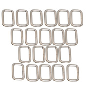 20pcs Metal Bag Purse Snap Hook 25mm Rectangle Rings Webbing Belts Buckle