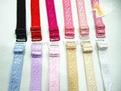 5pairs Assorted Colours Adjustable Elastic Spaghetti Jacquard Bra Straps 1.5cm Width Bra Shoulder Belt Accessories