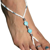 Yoyorule Turquoise Beads Beaded stretch Barefoot Sandal Foot Jewellery Anklet Chain