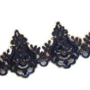13cm Black Embroidery Beaded sequined lace trim gorgeous lace trim by the yard for fabric Millinery accent motif dress decoration bridal lace wedding lace trim