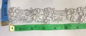 3.8cm Wide, beautiful Metallic Silver Lace Trim on Organza, Beaded Flowers,, 2 Yard Lot, White
