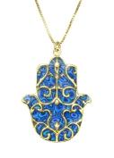 Gold Hamsa Necklace with Fleur de Lis Pendant - Blue Jewellery - Handmade Polymer Clay Israeli Gift Ideas