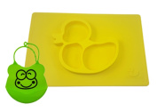 One Piece Silicone Fun Placemat & Plate/Tray with FREE BIB - Self Suction - Yellow Duck Design by Elm Tree for Kids, Toddlers & Babies