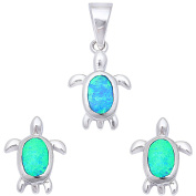 Lab Created Blue Opal Turtle .925 Sterling Silver Earring