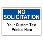 ComplianceSigns Aluminium Custom NO SOLICITATION Sign, 36cm x 25cm . White with Your Text